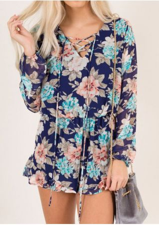 Floral Lace Up Long Sleeve Romper