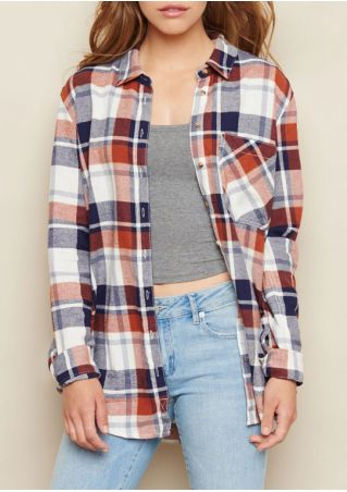 Plaid Turn-Down Collar Pocket Shirt