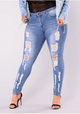Plus Size Solid Ripped Hole Denim Pants