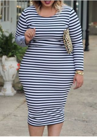 Plus Size Striped O-Neck Bodycon Dress