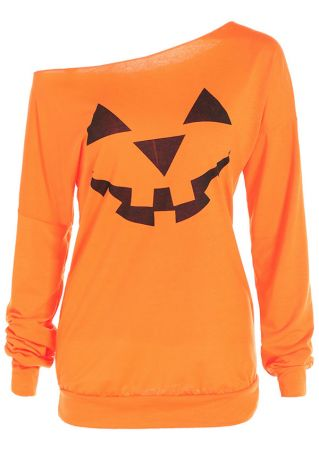 Halloween Pumpkin Printed One Shoulder Blouse