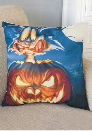 Halloween Pumpkin Face Printed Pillow Case