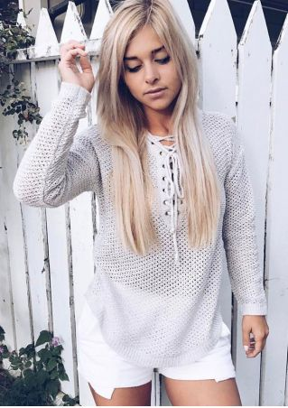 Solid Lace Up Knitted Sweater
