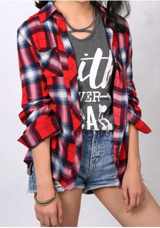 Plaid Button Turn-Down Collar Shirt