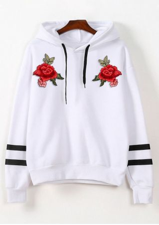 Applique Drawstring Long Sleeve Hoodie