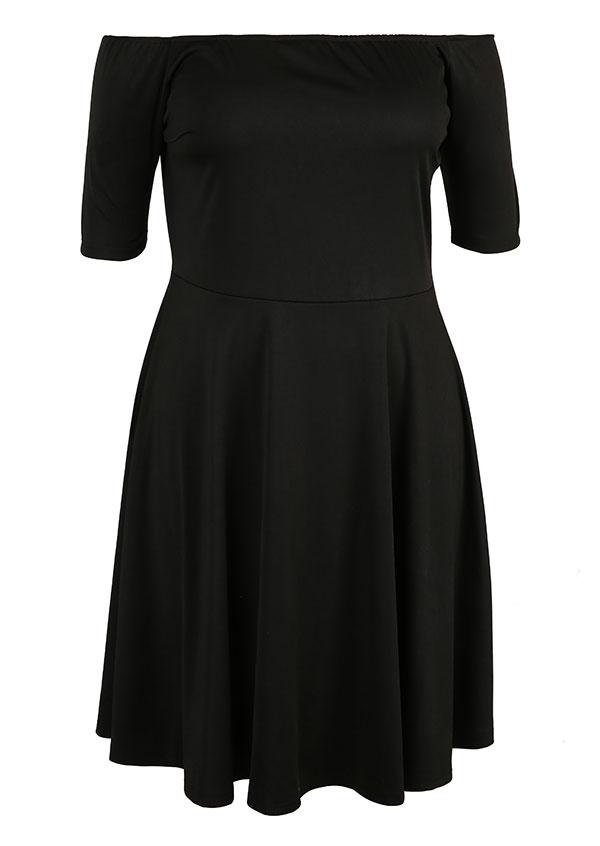 dca01cea7c3 Plus Size Solid Off Shoulder Casual Dress - Fairyseason