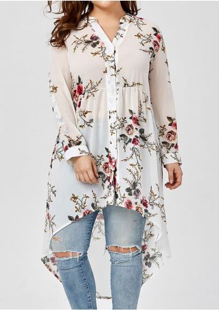 Plus Size Floral Button Asymmetric Long Sleeve Shirt