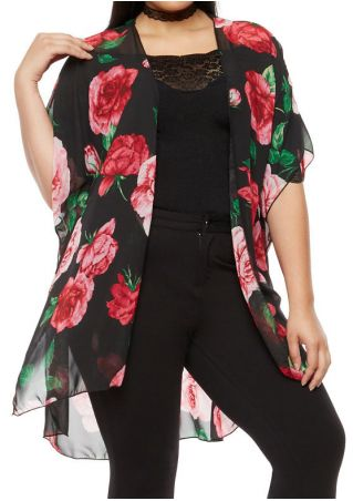 Plus Size Floral Printed Asymmetric Cardigan without Necklace