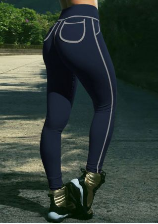 Elastic Waist Pocket Skinny Sport Pants