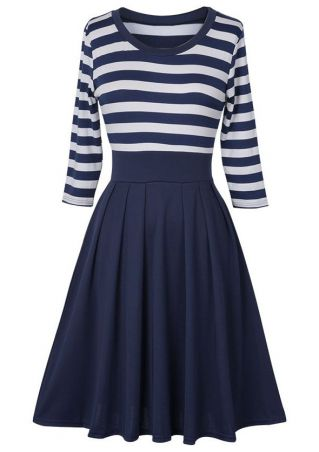 Plus Size Striped Splicing O-Neck Casual Dress