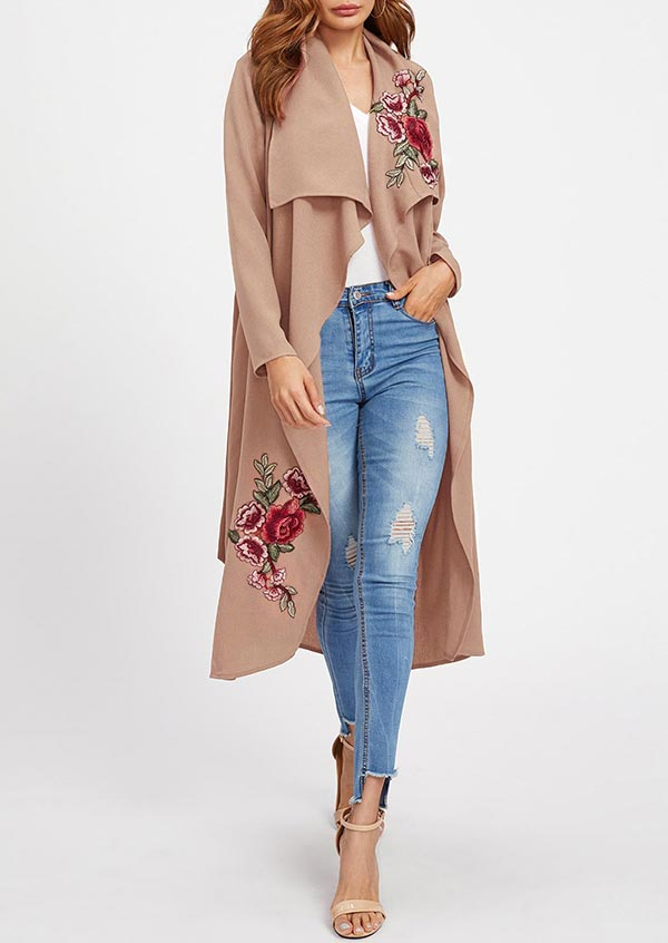 Image of Applique Long Sleeve Asymmetric Cardigan with Belt