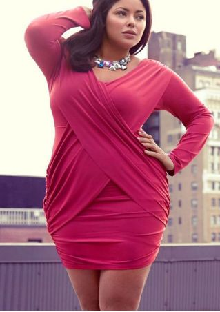 Plus Size Solid Wrap Bodycon Dress without Necklace