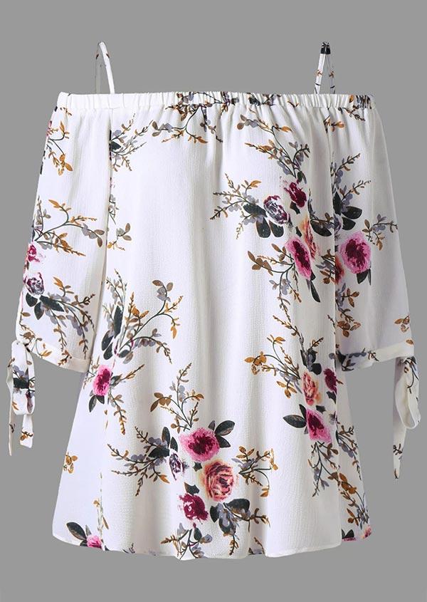 14cf1c19e57 Plus Size Floral Cold Shoulder Blouse - Fairyseason