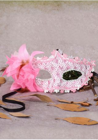 Halloween Flower Faux Feather Eye Mask
