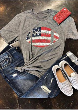 American Flag Football Printed T-Shirt American