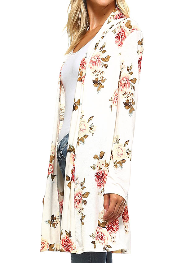 Floral Long Sleeve Cardigan Fairyseason