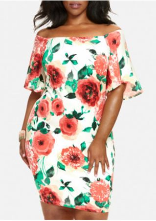 Plus Size Floral Off Shoulder Bodycon Dress