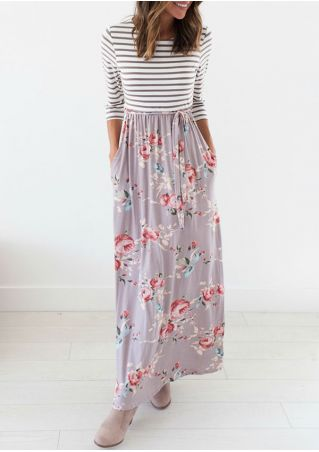 Floral Striped Splicing Pocket Maxi Dress