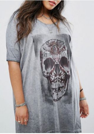 Halloween Plus Size Skull Love Casual Dress without Necklace