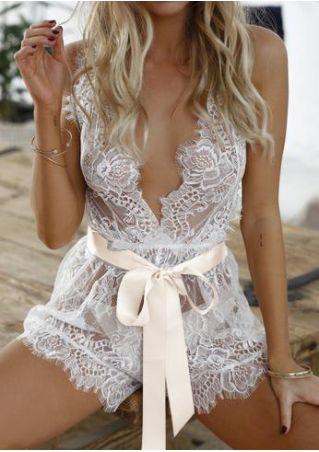Lace Floral Lingerie with Belt