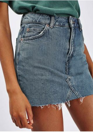 Solid Button Pocket Denim Skirt