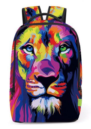 3D Multicolor Lion Printed Backpack 3D
