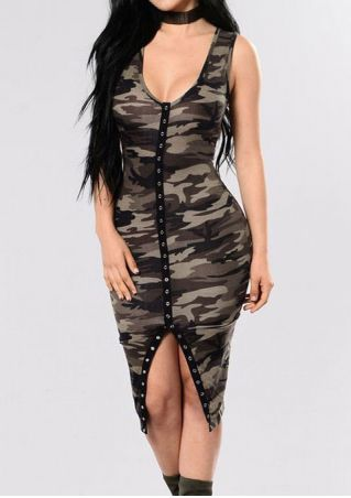 Camouflage Printed Bodycon Dress without Necklace Camouflage