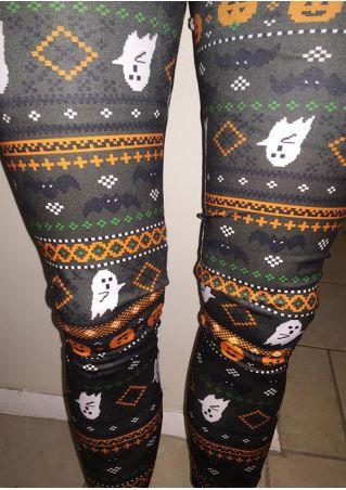 Halloween Printed Elastic Waist Skinny Leggings