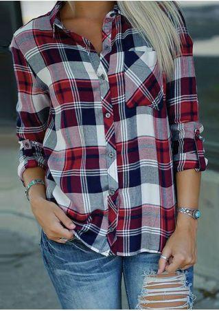 Plaid Tab-Sleeve Pocket Shirt