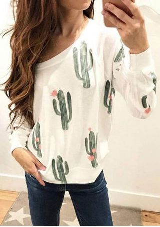 Cactus Printed One Shoulder T-Shirt Cactus