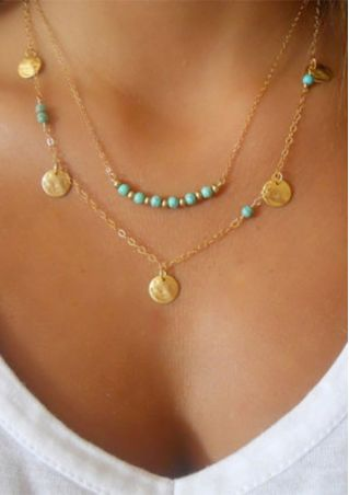 Multilayer Discs Turquoise Pendant Necklace