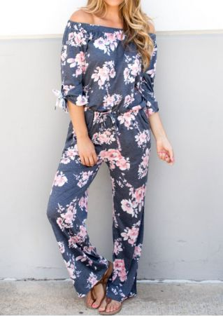 Floral Off Shoulder Drawstring Jumpsuit