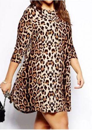 Plus Size Leopard Printed Three Quarter Sleeve Mini Dress