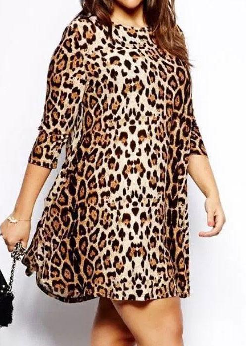 Plus Size Leopard Printed Three Quarter Sleeve Mini Dress - Fairyseason