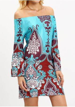 Printed Off Shoulder Mini Dress without Necklace