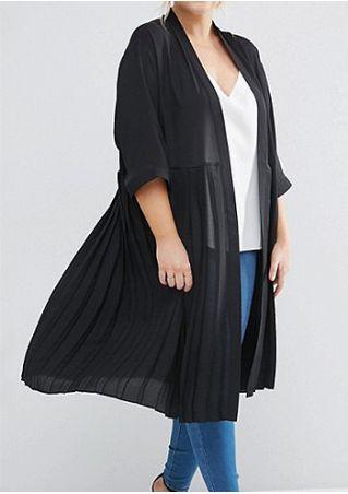 Plus Size Solid Three Quarter Sleeve Cardigan