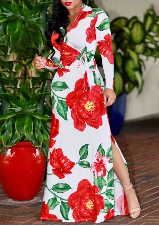 Plus Size Floral Slit Wrap Maxi Dress