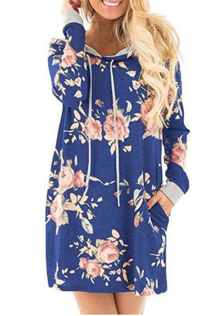 Floral Drawstring Pocket Mini Dress