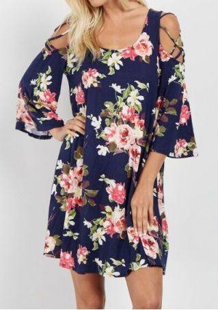 Floral Criss-Cross Cold Shoulder Mini Dress