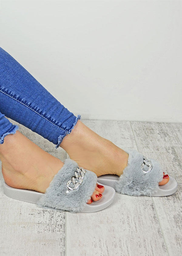 Image of Solid Chain Faux Fur Fluffy Flat Slippers