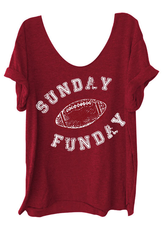 Sunday Funday Football O Neck T Shirt Fairyseason
