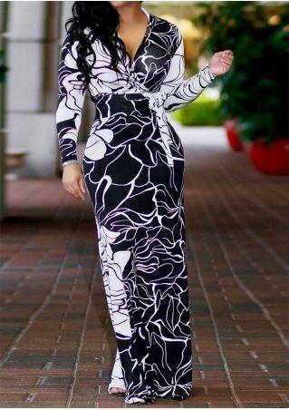 Plus Size Floral Wrap V-Neck Maxi Dress