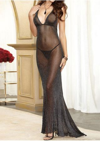 Solid See-Through Lingerie Set without Necklace