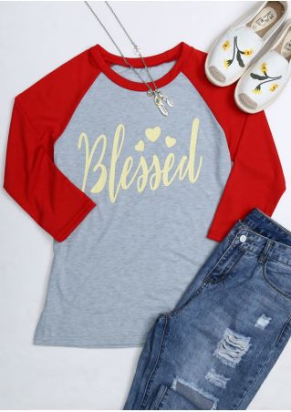 Blessed Three Quarter Sleeve Baseball T-Shirt Blessed