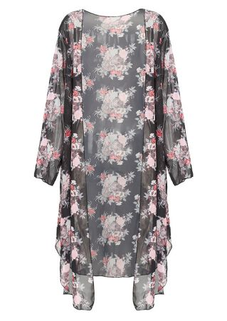 Plus Size Floral Slit Kimono Cardigan without Necklace
