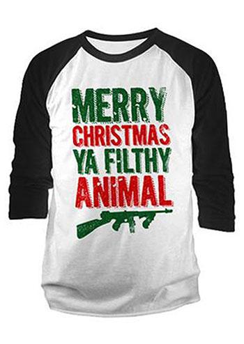 Merry Christmas Ya Filthy Animal Baseball T Shirt