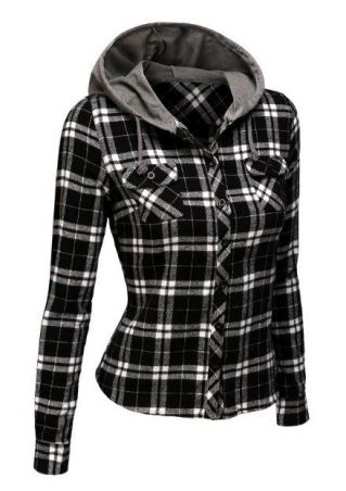 Plaid Pocket Long Sleeve Shirt with Hood