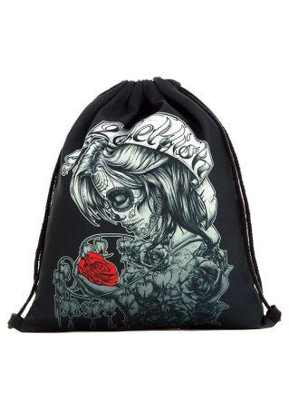 Skull Floral Drawstring Backpack