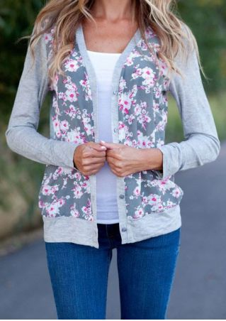 Floral Splicing Long Sleeve Coat