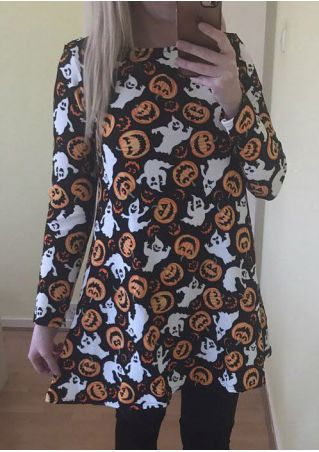 Halloween Pumpkin Face Printed Mini Dress